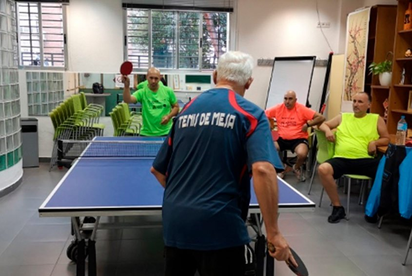Table tennis training session